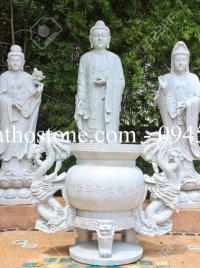 Bộ Tam Thế Phật bằng đá trắng nguyên khối