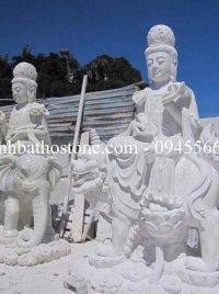 Tượng Bồ Tát Văn Thù - Phổ Hiền bằng đá trắng nguyên khối