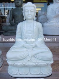 Tượng Phật Thích ca đá trắng nguyên khối