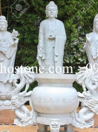 Bộ Tam Thế Phật đá trắng nguyên khối