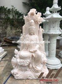 Tượng Bồ Tát Quán Thế Âm ngồi đá trắng hồng nguyên khối