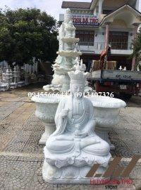 Tượng Bồ Tát Địa Tạng ngồi bằng đá trắng nguyên khối